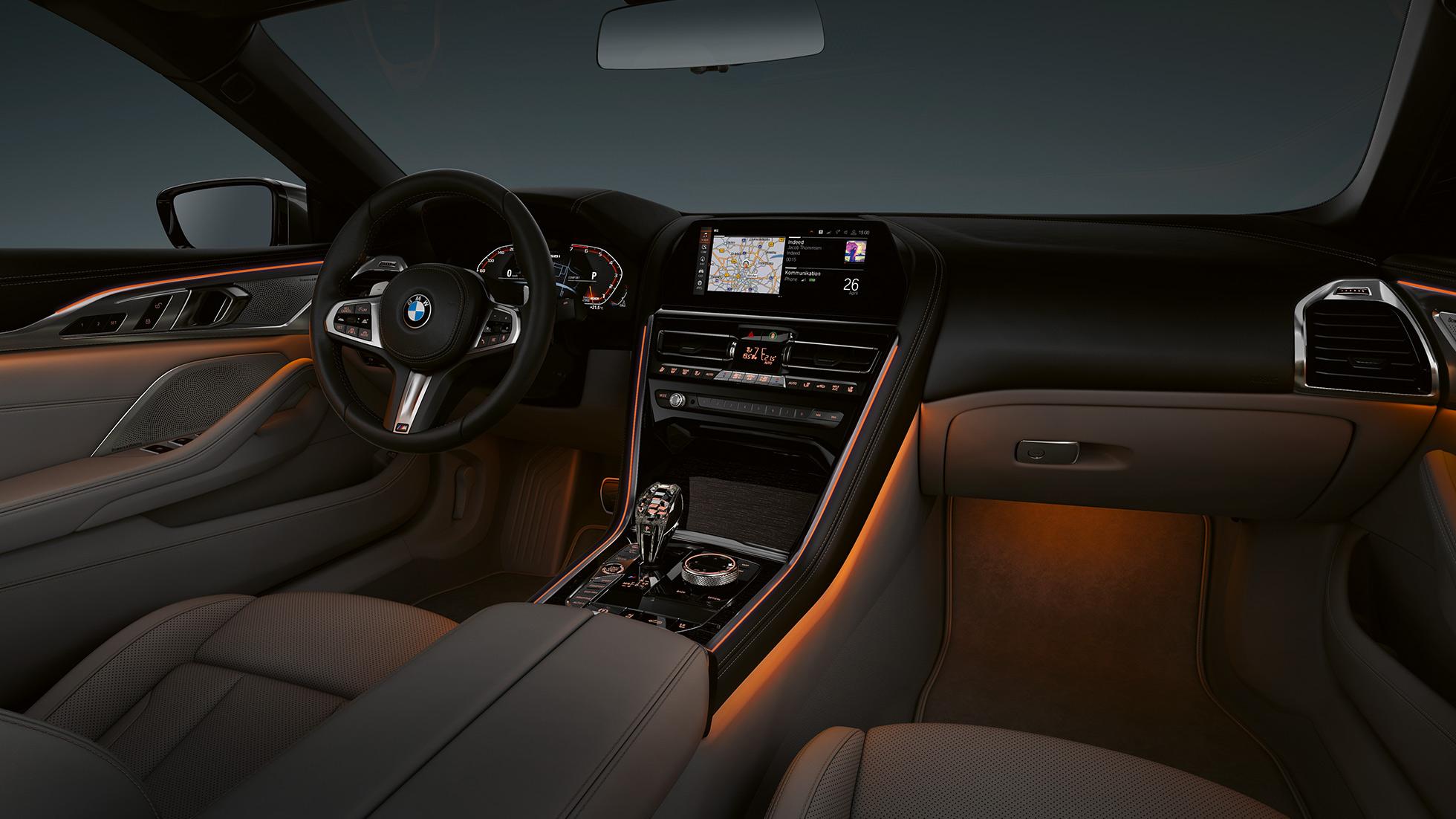 BMW M850i xDrive, интерьер, подсветка Ambient light.