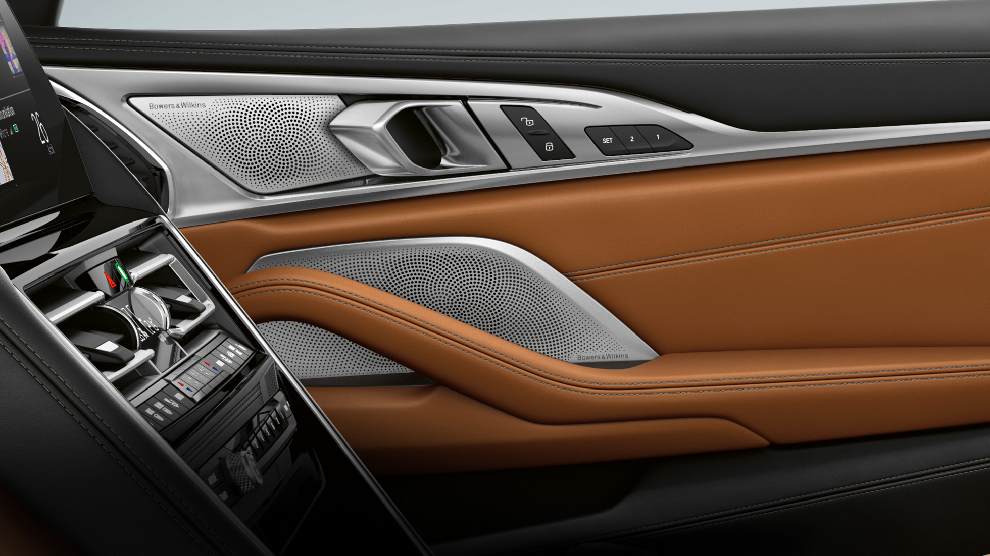 BMW M850i xDrive, интерьер, аудиосистема Bowers & Wilkins Diamond Surround Sound.