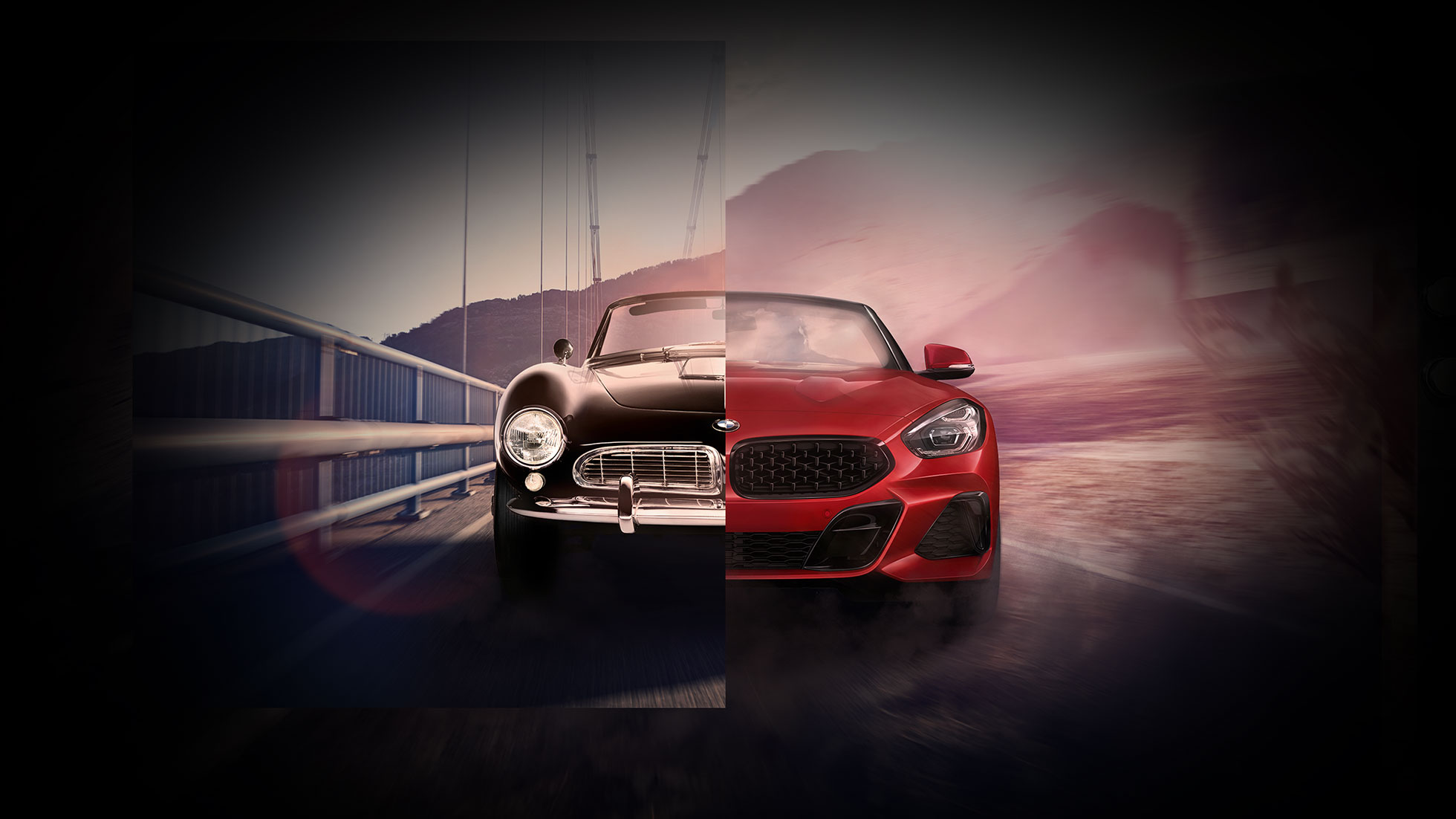 Split screen of black BMW 507 and BMW Z4 Roadster